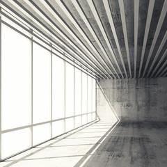 3d interior with bright windows and gray concrete walls