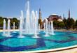 Leinwanddruck Bild - The fontain  in Sultan Ahmet Park with Hagia Sophia in the backg