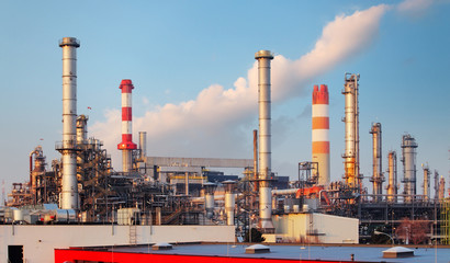 big oil refinery of a sky background