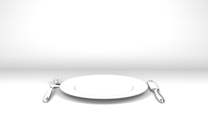 Cutlery And Dish On White Text Space