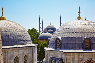The view from the window of Hagia Sophia to the Blue Mosque, Ist