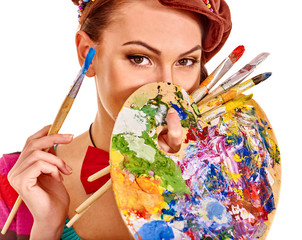 Artist woman with paint palette.