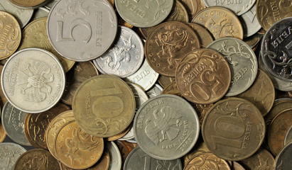 Russian money - coins rubles and kopecks, background