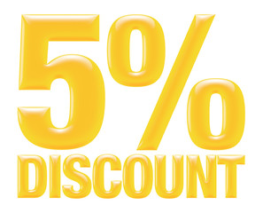 Text 5 percentages discount 3d on white background.