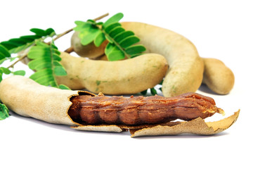 Close up of  fresh Tamarind on white background