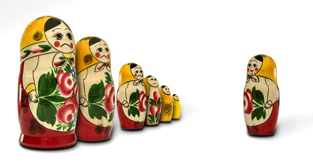Matryoshka dolls angry with one of them