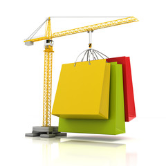 Colourful shopping bags with crane, 3d render