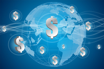 business background with dollar and global on blue