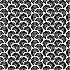 Retro Seamless Pattern Flowers Black/White