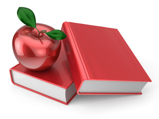 Books and apple red back to school book education