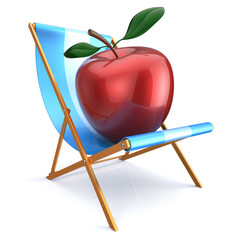 Red apple sitting in beach chair healthy relaxing