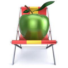 Apple sitting in beach chair vegetarian nutrition diet