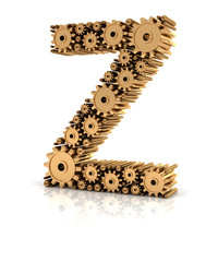 Alphabet Z formed by gears