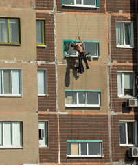 Painter works in the height