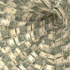 Geldstrudel aus 10 Rubelscheinen