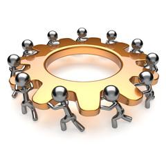 Partnership teamwork unity business process gear turning