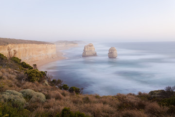 Limestone sea rock near Twelve Apostles in Australia under
