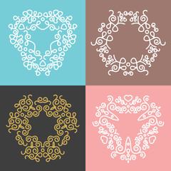 Outline floral frames and badges templates. Set 5