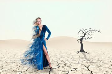Portrait of a beauty woman in blue dress