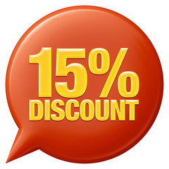 Text 15 percentages discount 3d on white background.