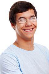 Smiling guy in glasses closeup