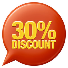 Text 30 percentages discount 3d on white background.