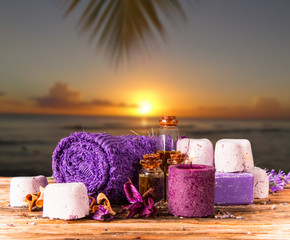 Spa concept with tropical beach, relax exotic