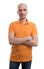 bald man wearing polo shirt