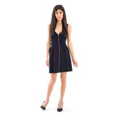 Elegant brunette woman with black dress isolated on white backgr