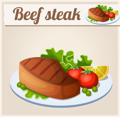 Beef steak. Detailed Vector Icon. Series of food and drink and