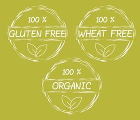 Set of gluten free and wheat free symbols