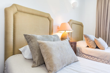Comfortable pillows for decoration. On the bed.