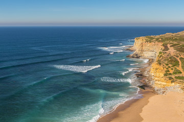 Sea beach in Ericeira for surfers. Portugal autumn.
