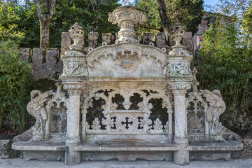 bench in rococo style. Quinta Regaleira Sintra Portugal.