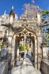 Architectural art in arch of bridge Regaleira. Sintras Portugal.