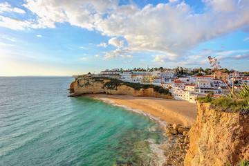 Beautiful beach in the town of Carvoeiro. Portugal, Algarve.