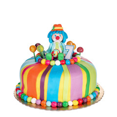 Gorgeous birthday cake for children. With colorful sweets.
