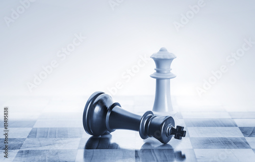 Fallen chess king as a metaphor for fall from power - 81495838