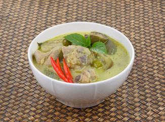 Delicious  food  green chicken curry