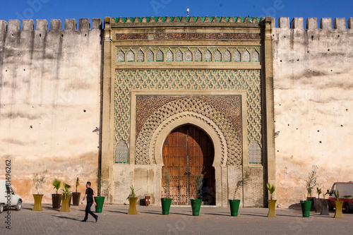 very old wooden gate to the medina, Meknes, Morocco - 81496262