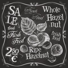 hazelnut, walnut, nut vector logo design template. fresh food or