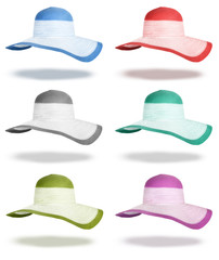 Set summer straw hats isolated on white background