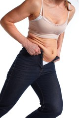 Woman with fat belly.