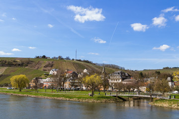 River Mousel in sunny spring, Luxembourg