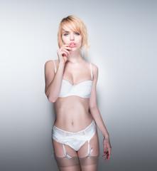 Portrait of Blond Woman Wearing White Lingerie
