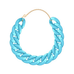Chunky chain necklace or bracelet - turquoise color.