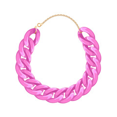 Chunky chain necklace or bracelet - pink color.
