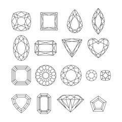 Set of simple style outline jewels.