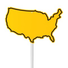 USA shaped road sign