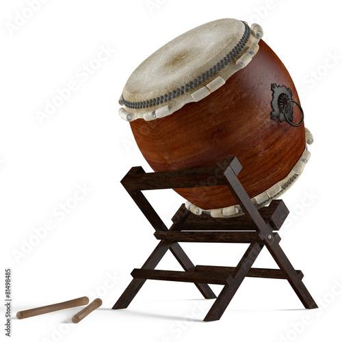 Leinwanddruck Bild Taiko drums. Traditional Japanese instrument